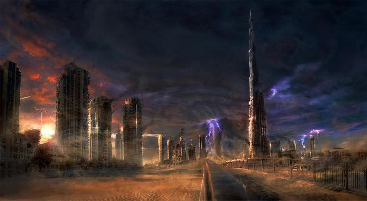 Dubai, re-imagined as a ruin, torn by heat, storms and tornados.