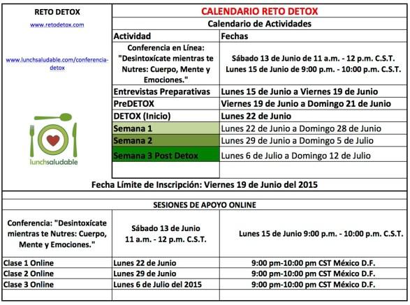 Calendario G7 Detox