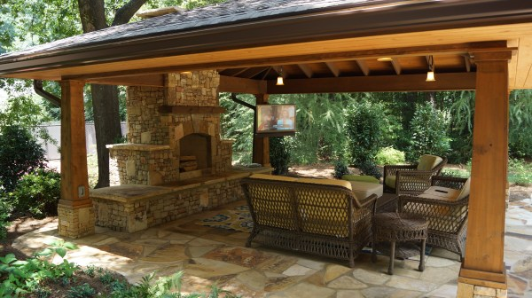 Outdoor Living Areas with Fireplace Ideas