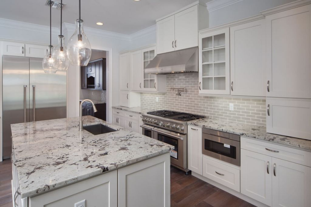 White open concept kitchen with island