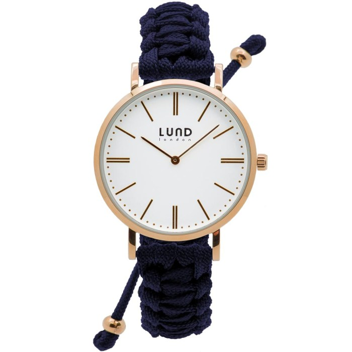 Navy Braided Watch with rose gold clasp - 34 mm