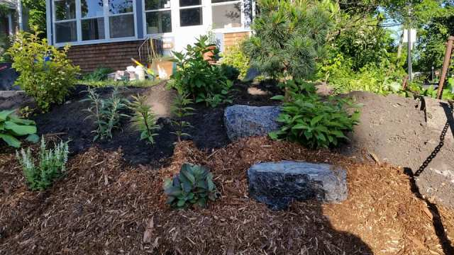 garden installation photo of a finished front yard with rocks and bushes.