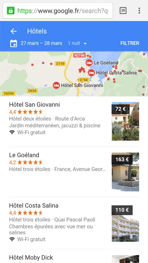 Liste hôtels corses à porto vecchio