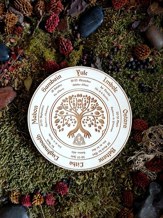 roue wicca sur bois