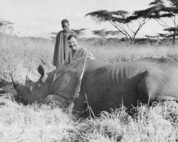 """1933 Ernest Heminway in Africa hunting buffalo. Please credit """"Ernest Hemingway Collection/John F. Kennedy Presidential Library and Museum, Boston"""""""