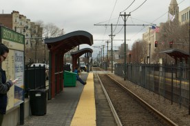 The T approaches Boston University East.