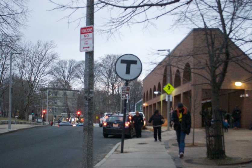 The Stony Brook T stop around midday.