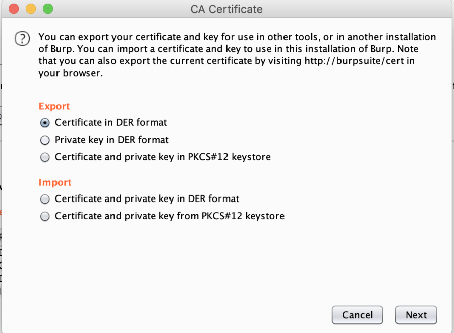 Export CA Certificate Burp Suite