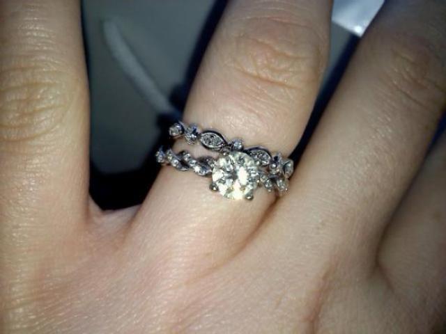 My custom E ring and wedding band :  wedding unique ring engagement twists diamond custom Rings