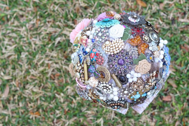 Domesticability Brooch Bouquet Made of Lace, burlap, family heirloom jewelry and silk floral