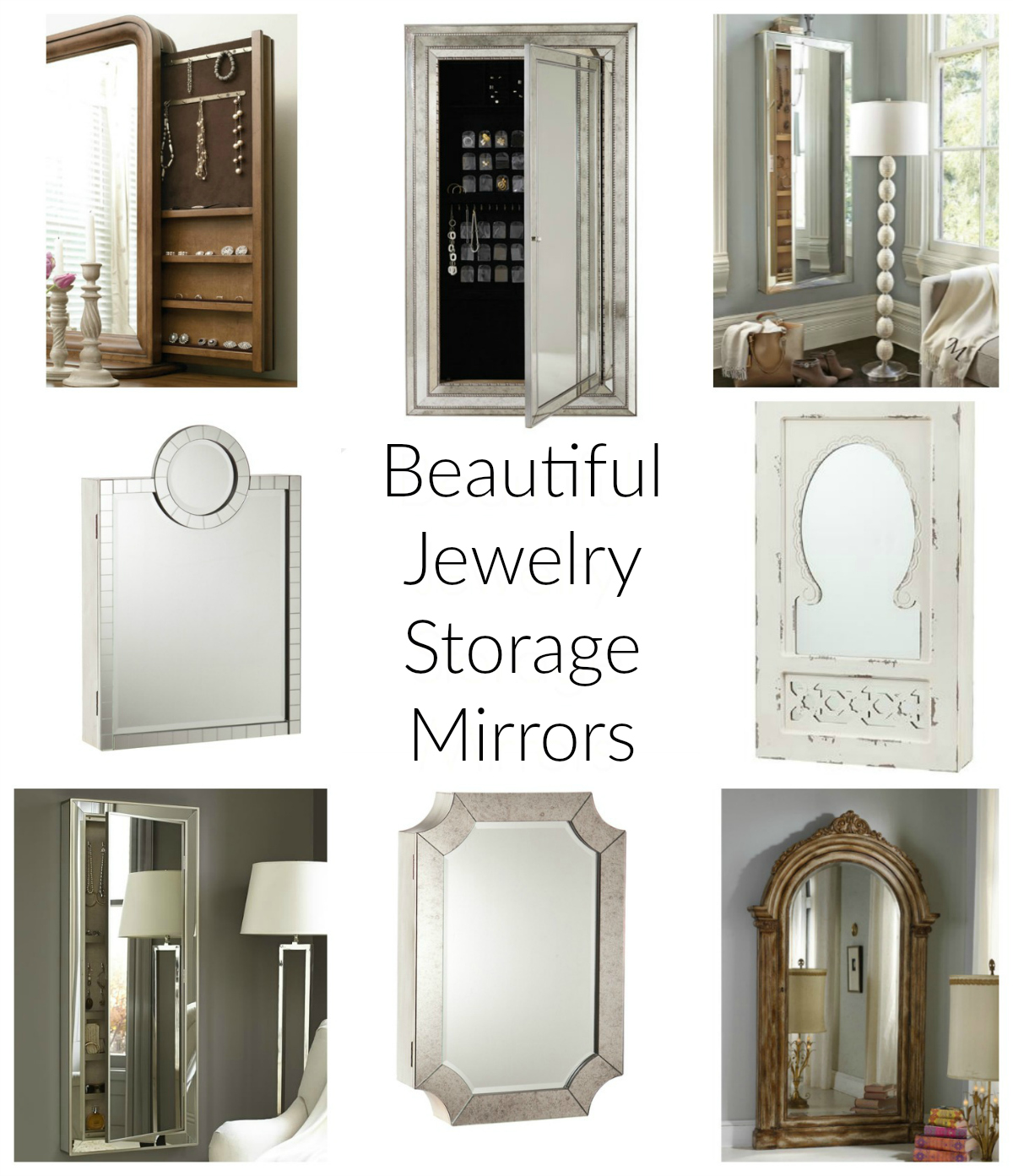 collection of organized mirror jewelry boxes that hang on the wall or leaning
