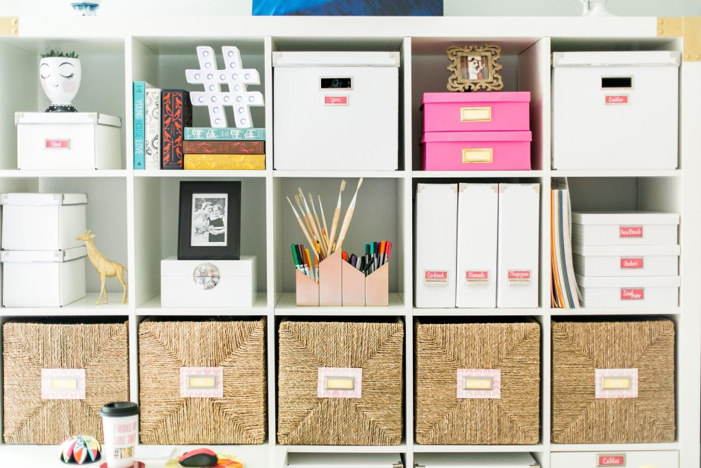 Ikea Kallax Shelf Styling Craft Room Storage Solutions Using Bins to Minimize Visual Clutter Penguin Classic Books DIY Paintbrush Air supply Storage