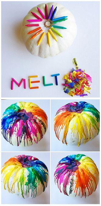 Melted Crayon Pumpkin Decorating for Kids