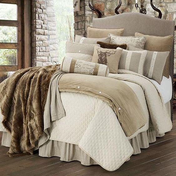 Neutral Rustic Bed Set