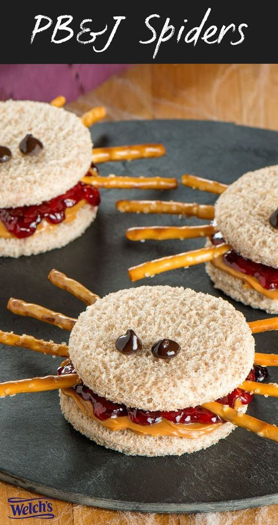 Peanut Butter and Jelly Spiders - Fun Halloween Snacks for Kids