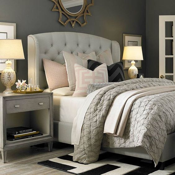 Neutral Bedroom with Soft Pink Accents