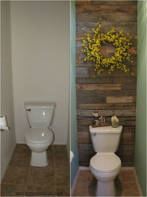 Pallet Wall Toilet Room Makeover