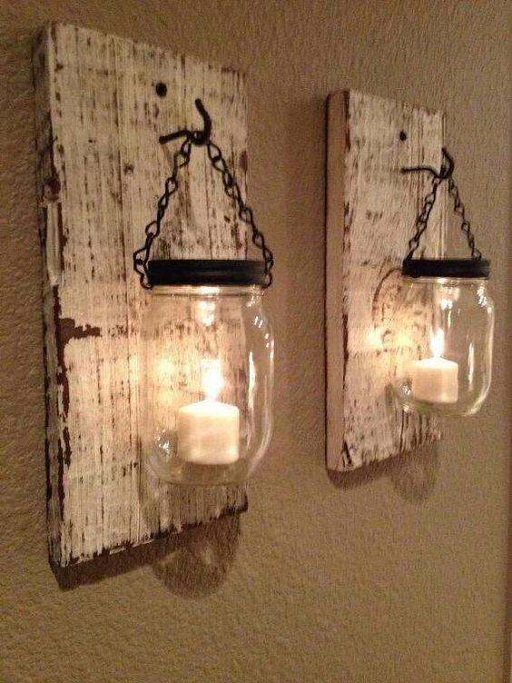 Rustic Hanging Mason Jar Candle Holder