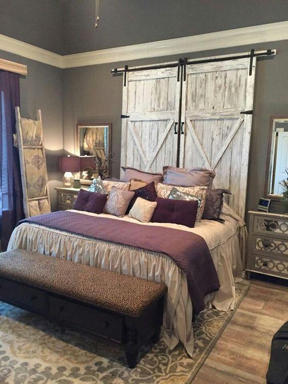 Rustic Bedroom -Barn Door Headboard