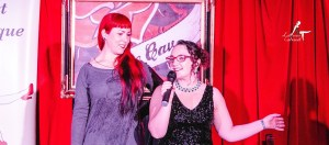 Trixi Tassels and Little Lady Luscious on stage
