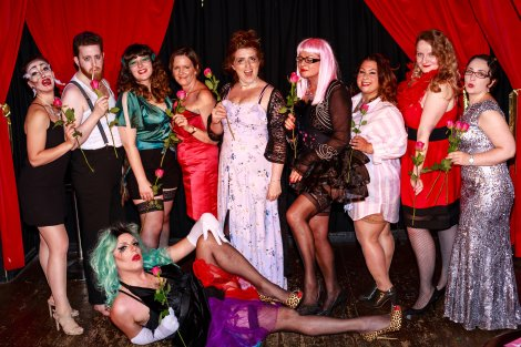 Luscious Burlesque Graduate students posing for group picture