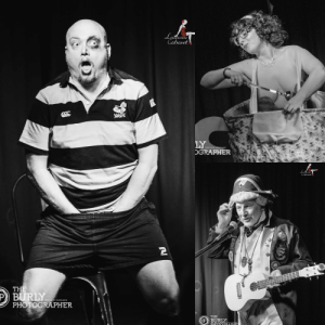 Three pictures on the left bald boylesque performer dressed as rugby player with his hands in his pants. Top Right burlesque performer in a giant teacup with teaspoon. Bottom right singer dress in a an admiral's outfit with a ukulele