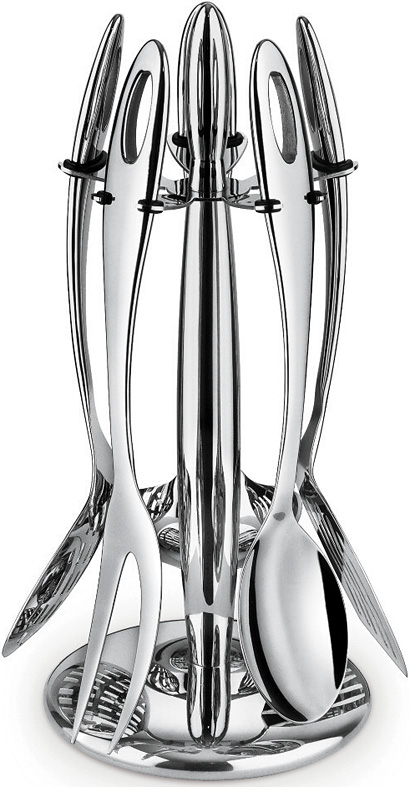 kitchen tool set instant hot water systems six piece stainless steel utensil with stand giannini expand image click to view a larger
