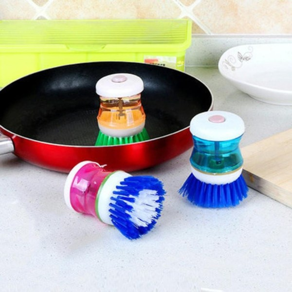 New Arrival Fashion Easy Use Palm Scrubber Wash Clean Tool Holder Soap Dispenser Brush Dish Washer 1 | Online In Pakistan