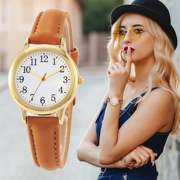 Arabic Numbers Lady ELegant Style Women Watch Candy Color Straps Leather 13