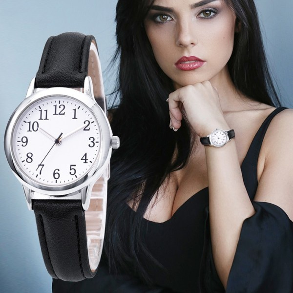 Arabic Numbers Lady ELegant Style Women Watch Candy Color Straps Leather 2