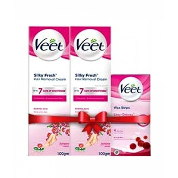 veet face wax strips normal with 2 cream for normal skin 100gm