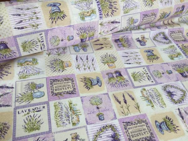French Lavender Print Cotton Fabric Lilac Floral Curtains