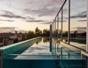 Rooftop Terrace With Glass Pool, Modern House Design Offering Panoramic Views