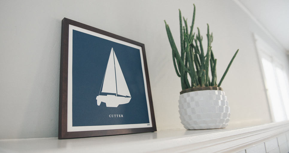Modern coast and surf prints | Sailboat print | Orange & Park