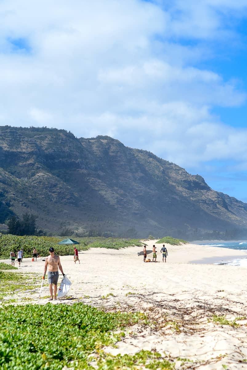 Surfrider beach clean up Haleiwa Hawaii