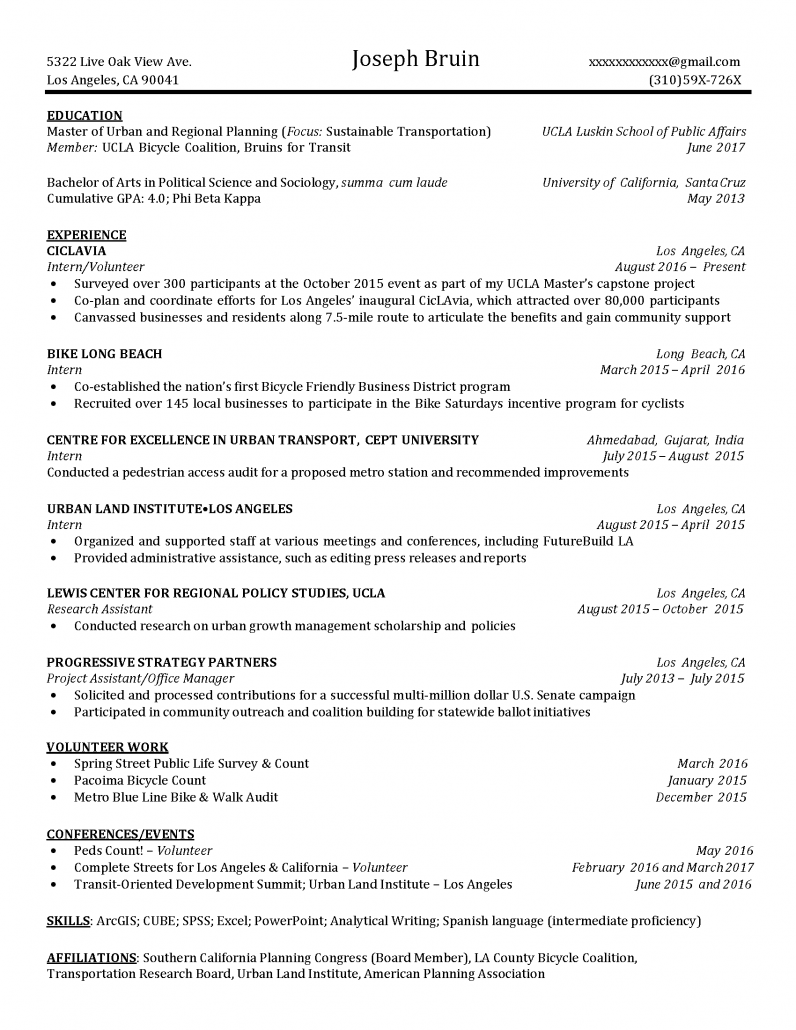 samples resume page