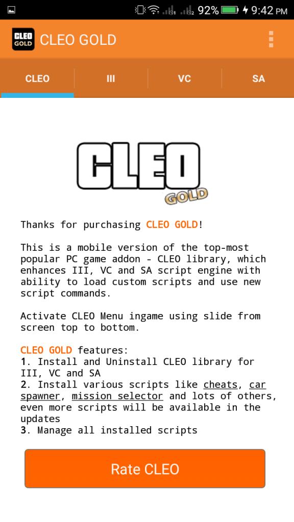 Screenshot of CLEO Gold App