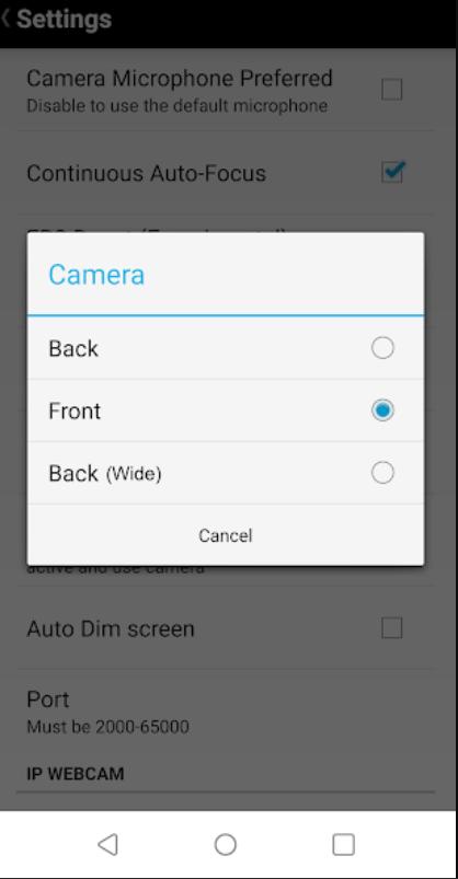 Screenshot of DroidCam Pro