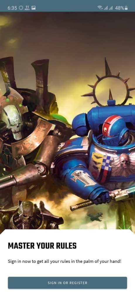 Screenshot of Warhammer 40k App