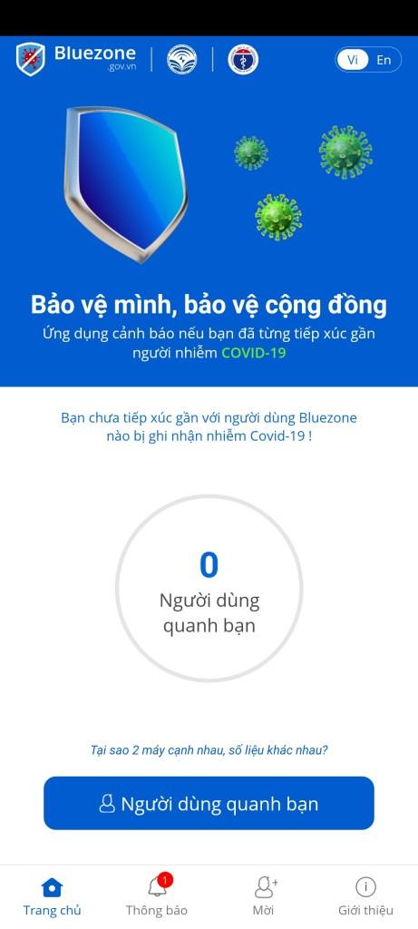 Screenshot of Bluezone Corona App