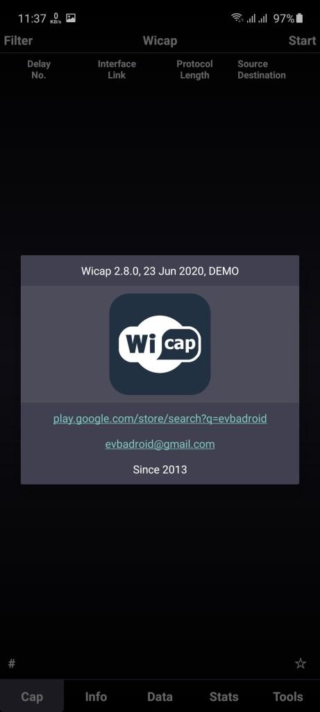 Screenshot of WICAP Pro App