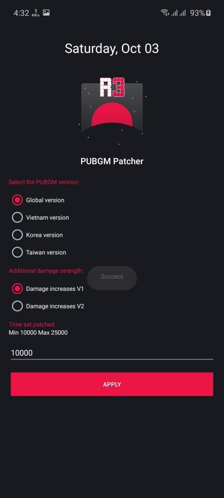 Screenshot of R3 PUBGM Patcher