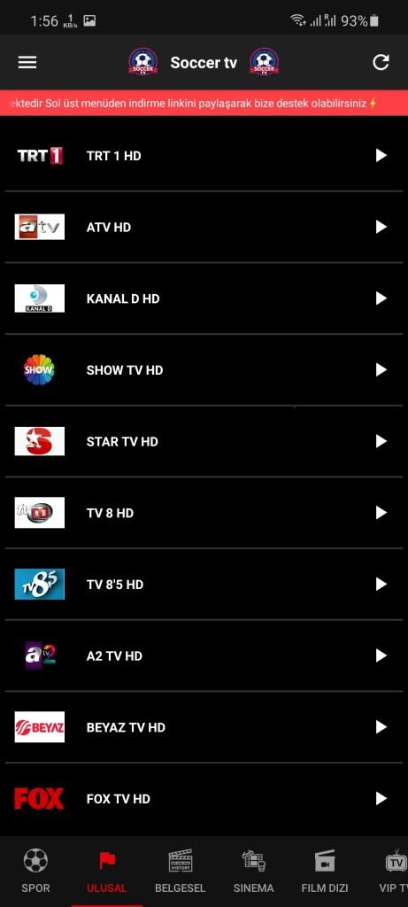 Screenshot of Soccer TV Turkey