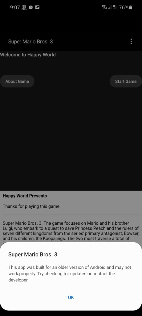 Screenshot of Super Mario 3 Game