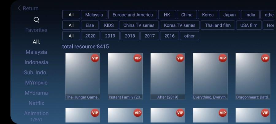 Screenshot of SyberTV App