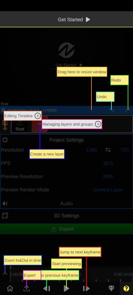 Screenshot of Node Video Editor App