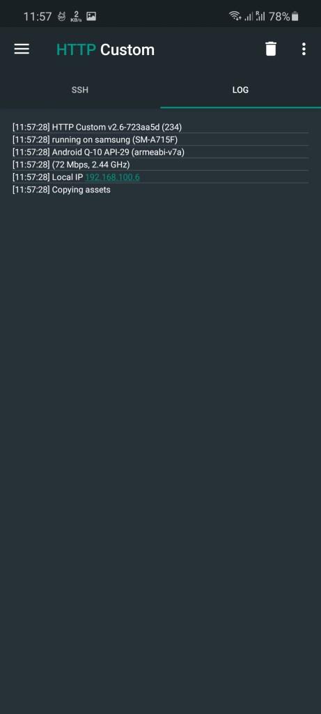 Screenshot of HTTP Custom 234 App