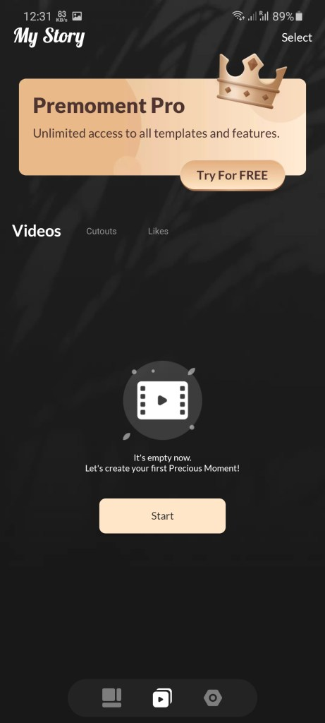 Screenshot of Premoment App