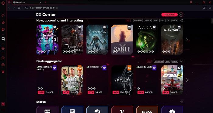 Screenshot Opera GX Corner