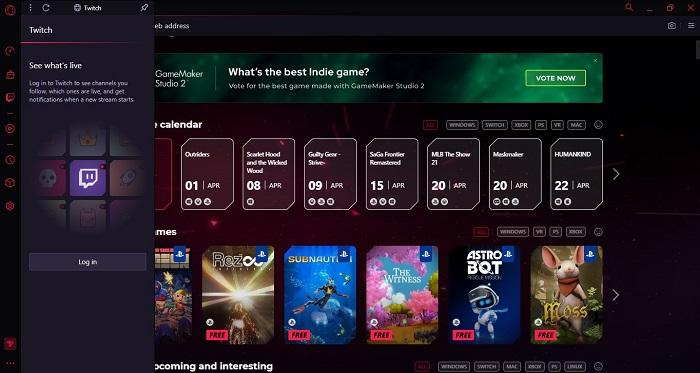 Screenshot Opera GX Twitch